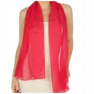 Oblong chiffon solid Red scarves